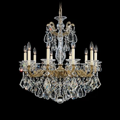 La Scala 10-Light Candle-Style Chandelier Finish / Crystal Color: Parchment Gold / Handcut Clear