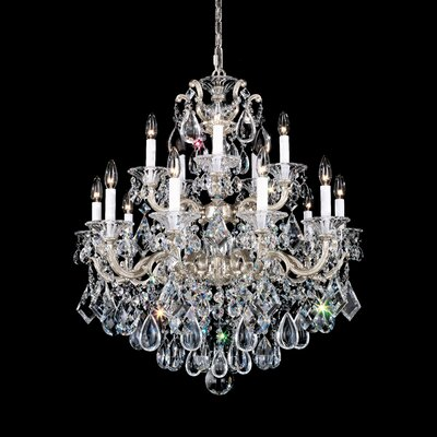 La Scala 15-Light Candle-Style Chandelier Finish / Crystal Color: Antique Silver / Strass Clear