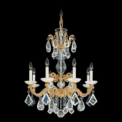 La Scala Rock Crystal 8-Light Candle-Style Chandelier Finish: Antique Silver