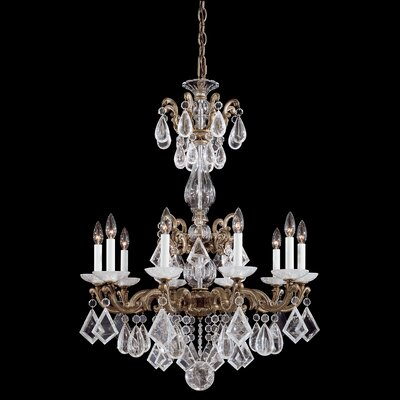 La Scala Rock Crystal 10-Light Candle-Style Chandelier Finish: Parchment Gold
