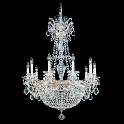 La Scala Empire 15-Light Candle-Style Chandelier Finish / Crystal Color: Antique Silver / Strass Clear