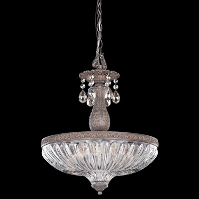 Milano 4-Light Inverted Pendant Finish: Parchment Gold, Crystal Color: Strass Silver Shade