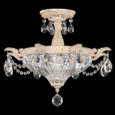 Milano 2-Light Semi Flush Mount Finish: Heirloom Gold, Crystal Type: Spectra Clear