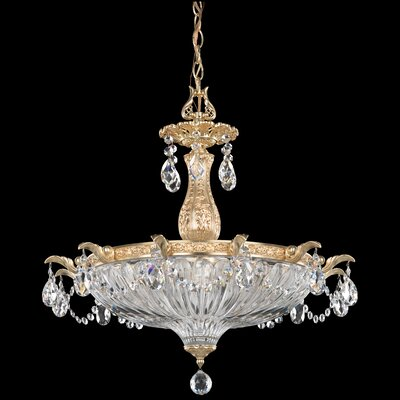 Milano 4-Light Pendant Crystal Type: Swarovski Elements Silver Shade, Finish: Etruscan Gold