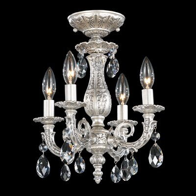 Milano 4-Light Mini Chandelier Finish: Midnight Gild, Crystal Grade: Strass Golden Teak