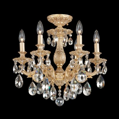 Milano 6-Light Candle-Style Chandelier Finish: Parchment Gold, Crystal Grade: Strass Golden Teak