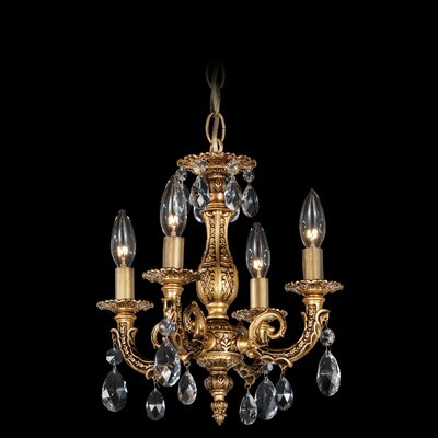 Milano 4-Light Candle-Style Chandelier Finish / Crystal Color: Parchment Gold / Strass Silver Shade