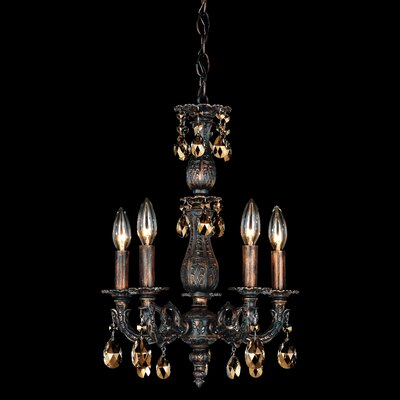 Milano 5-Light Crystal Chandelier Base Finish: Heirloom Bronze, Shade Color: Swarovski Elements Golden Teak