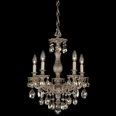 Milano 5-Light Candle-Style Chandelier Finish: Antique Silver, Crystal Color: Strass Silver Shade