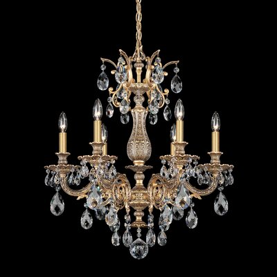 Milano 6-Light Candle-Style Chandelier Finish: Heirloom Bronze, Crystal Type: Swarovski Elements Golden Teak