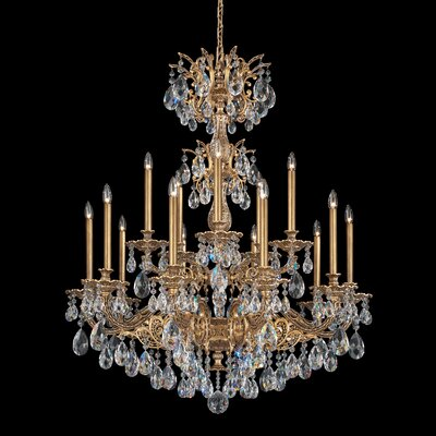 Milano 15-Light Crystal Chandelier Crystal Type: Optic Clear, Finish: Heirloom Bronze