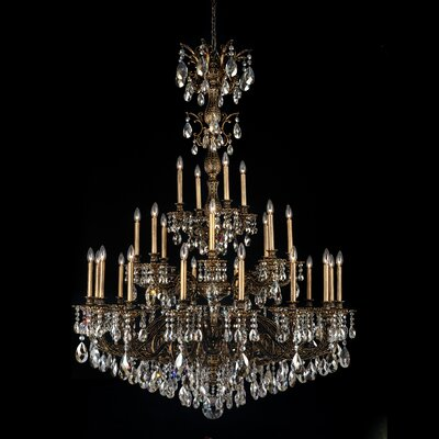 Milano 28-Light Crystal Chandelier Finish: Heirloom Gold, Crystal Type: Spectra Clear