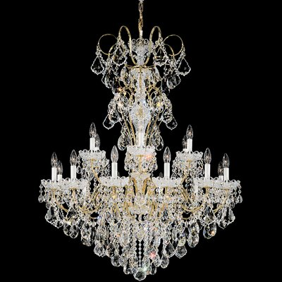 New Orleans 18-Light Candle-Style Chandelier Finish: Aurelia, Crystal Type: Swarovski Elements Golden Teak
