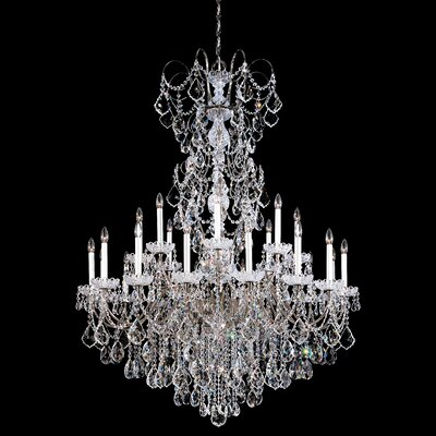 New Orleans 24-Light Candle-Style Chandelier Finish / Crystal Color: Antique Silver / Strass Golden Teak