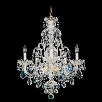 Olde World 5-Light Candle-Style Chandelier Color: Silver, Crystal Color: Spectra Swarovski