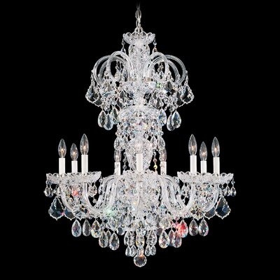 Olde World 9-Light Candle-Style Chandelier Finish: Silver, Crystal Color: Spectra Swarovski