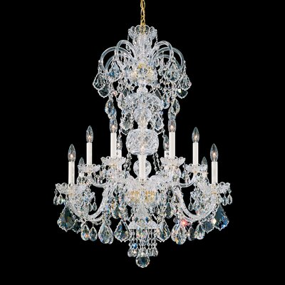 Olde World 12-Light Candle-Style Chandelier Finish: Silver, Crystal Color: Strass Clear