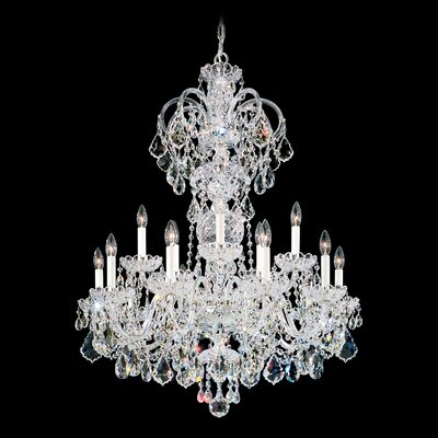 Olde World 15-Light Candle-Style Chandelier Finish: Silver, Crystal Color: Strass Clear
