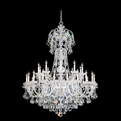 Olde World 60-Light Candle-Style Chandelier Color / Crystal Color: Silver / Spectra Swarovski