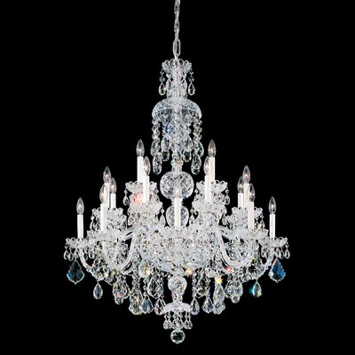 Olde World 20-Light Candle-Style Chandelier Color / Crystal Color: Silver / Strass Clear