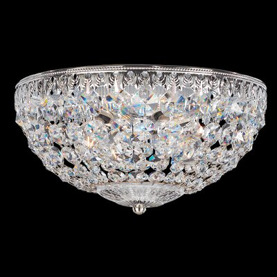 Petit Crystal Flush Mount Size / Finish / Crystal Grade: 7.5 H x 14 W x 14 D / Heirloom Bronze / Clear Image