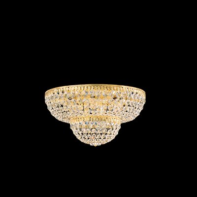 Image of Petit Flush Mount Size / Finish / Crystal Grade: 9 H x 18 W x 18 D / Gold / Strass Clear