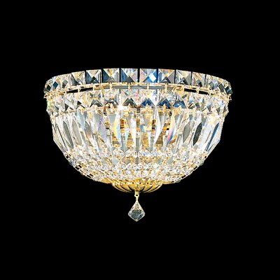 Petit Deluxe 3-Light Flush Mount Finish: Silver, Crystal Grade: Gemcut Clear