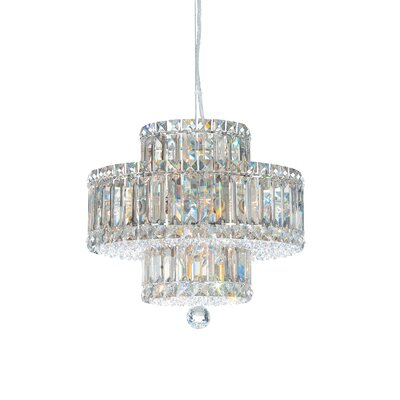 Image of Plaza 9 Light Drum Pendant Crystal Color: Strass Silver Teak