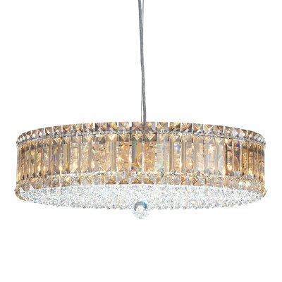 Image of Plaza Drum Pendant Size / Crystal Color: 21 W x 21 D / Strass Silver Teak