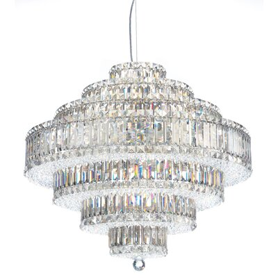 Image of Plaza 31 Light Drum Pendant Crystal Color: Strass Silver Teak