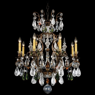 Renaissance Rock 8-Light Candle-Style Chandelier Finish: Antique Pewter, Crystal Color: Combination of Amethyst and Black Diamond
