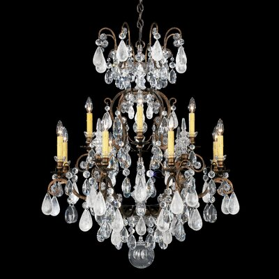 Renaissance Rock 12-Light Candle-Style Chandelier Finish: Antique Pewter, Crystal Color: Combination of Amethyst and Black Diamond