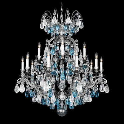 Renaissance Rock 15-Light Candle-Style Chandelier Finish: Antique Pewter, Crystal Color: Combination of Olive and Smoke