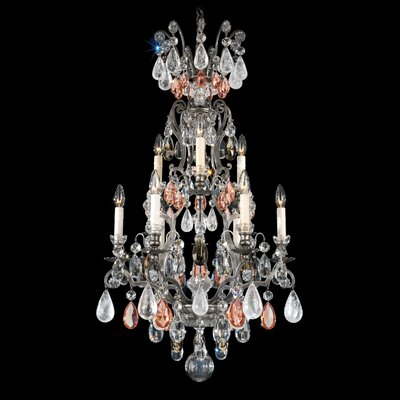 Renaissance Rock 9-Light Candle-Style Chandelier Finish: French Gold, Crystal Color: Amethyst And Black Diamond Colors Rock Crystal
