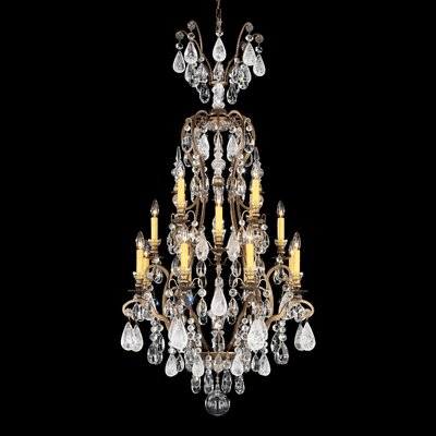 Renaissance Rock 16-Light Candle-Style Chandelier Finish: Etruscan Gold, Crystal Color: Combination of Amethyst and Black Diamond