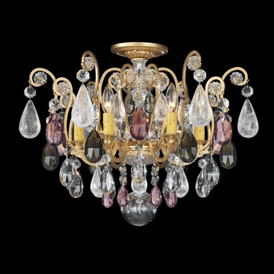 Renaissance 6-Light Semi Flush Mount Finish: Heirloom Gold, Crystal Type: Amethyst And Black Diamond Colors Rock Crystal