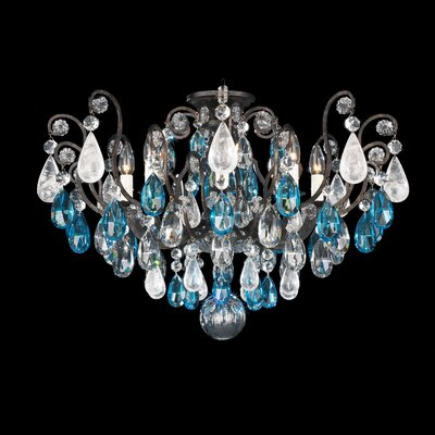 Renaissance Rock Crystal 8-Light Semi Flush Mount Finish: Antique Pewter, Crystal Color: Combination of Amethyst and Black Diamond