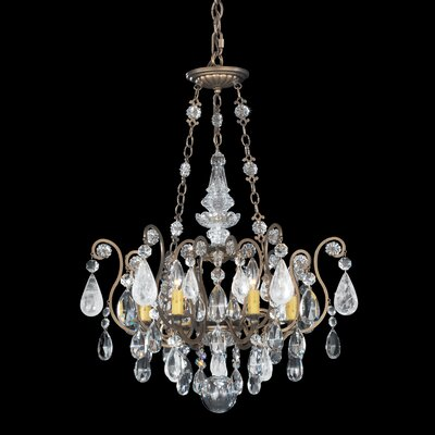 Renaissance Rock 6-Light Candle-Style Chandelier Finish: Heirloom Gold, Crystal Color: Clear Rock