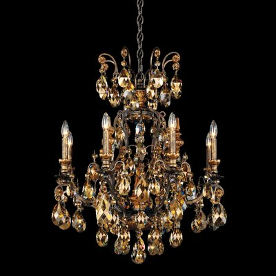 Renaissance 9-Light Candle-Style Chandelier Finish: French Gold, Crystal Type: Swarovski Elements Golden Teak