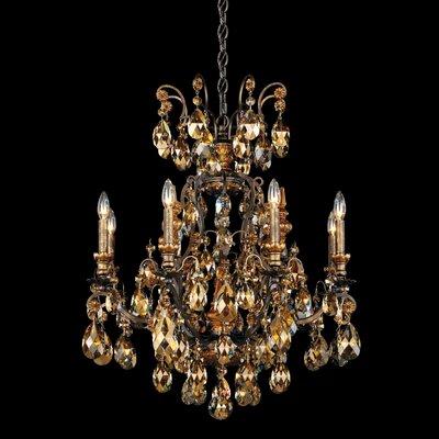 Schonbek Renaissance 9 Light Crystal Chandelier - Finish: Antique Silver, Crystal Type: Swarovski Elements Clear