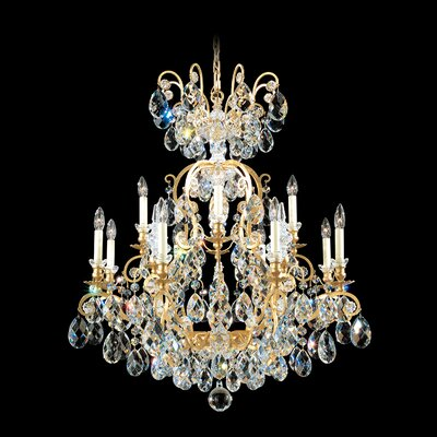 Renaissance 12-Light Crystal Chandelier Finish / Crystal Color: Antique Silver / Strass Golden Teak