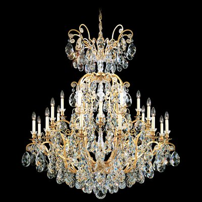 Renaissance 24-Light Candle-Style Chandelier Finish / Crystal Color: Antique Silver / Strass Golden Teak