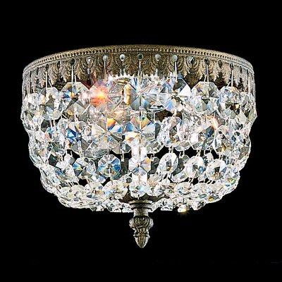 Rialto 3-Light Flush Mount Finish: French Gold, Crystal Type: Swarovski Elements Clear