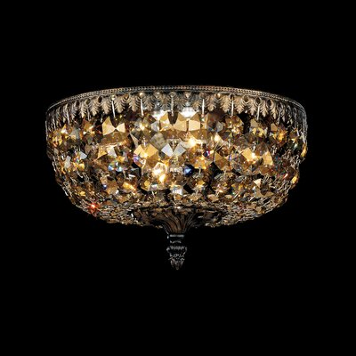 Rialto 4-Light Flush Mount Finish: French Gold, Crystal Type: Swarovski Elements Clear