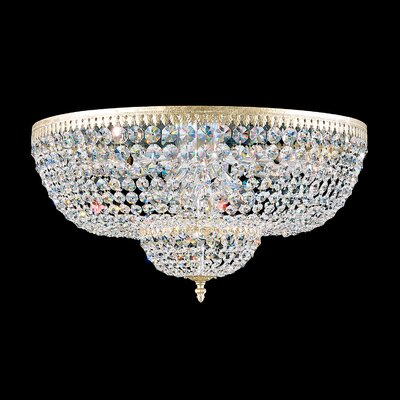 Rialto 14-Light Flush Mount Finish: French Gold, Crystal Type: Spectra Clear