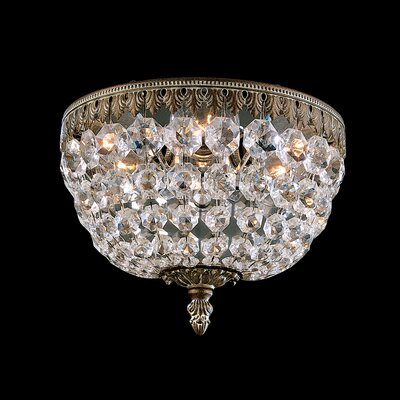 Rialto 3-Light Flush Mount Finish: French Gold, Crystal Type: Spectra Clear