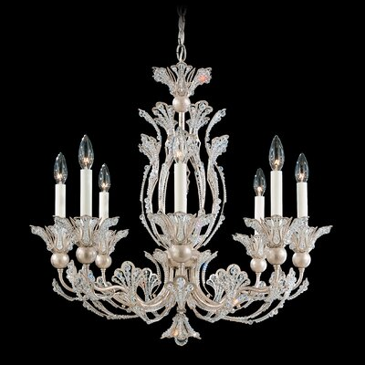 Image of Rivendell 8 Light Chandelier Finish: Antique Silver Crystal Color: Strass Clear