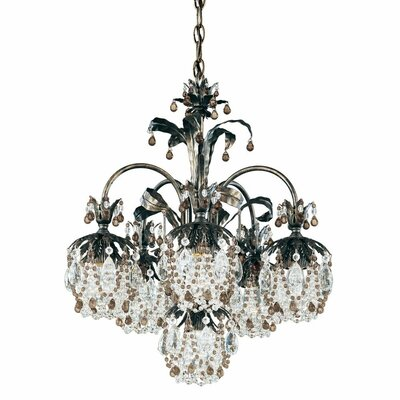 Rondelle 6-Light Crystal Chandelier Finish / Crystal Color: Heirloom Bronze / Soft Jewel