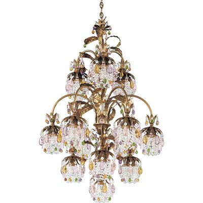 Rondelle 13-Light Crystal Chandelier Finish / Crystal Color: Antique Silver / Soft Jewel