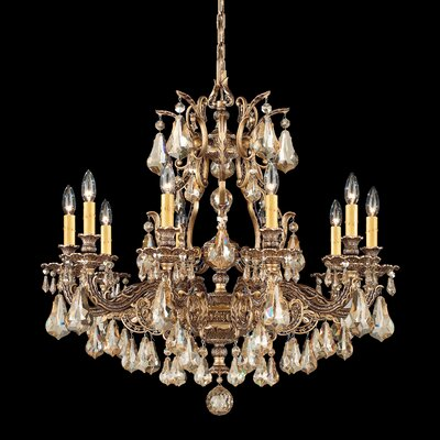 Sophia 10-Light Crystal Chandelier Crystal Type: Optic Handcut Clear, Finish: Antique Silver